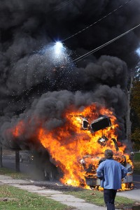 Truck fire, Millerton, NY.  November 2009