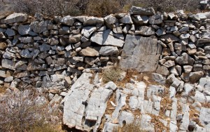 Detail of some wall work on Folegandros
