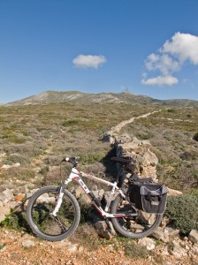 Biking from the aerials on Paros.