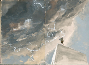 "A watercolor by Seamus Heffernan.  In it, I am imagined as the ""Weather God"".  His daughter Fiona dubbed me thus..."