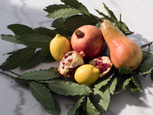 Pomegranates, lemons, bay leaves from a nearby tree and a pear...